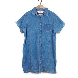 Vintage Tommy Hilfiger Button Denim Shirt Dress 22